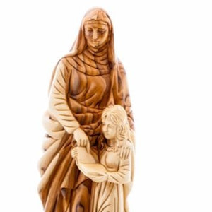 Good Saint Anne with Young Virgin Mary Hand Carved Olive Wood Statue - Statuettes - Bethlehem Handicrafts