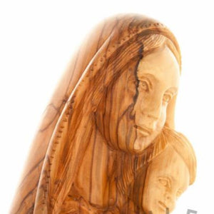 Olive Wood Virgin Mary with the Holy Child Bust - Statuettes - Bethlehem Handicrafts