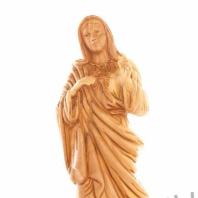 Olive Wood Immaculate Heart of Mary Statue - Statuettes - Bethlehem Handicrafts