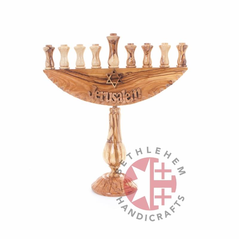Hand Carved Olive Wood Seven-Branched Menorah - Specialty - Bethlehem Handicrafts
