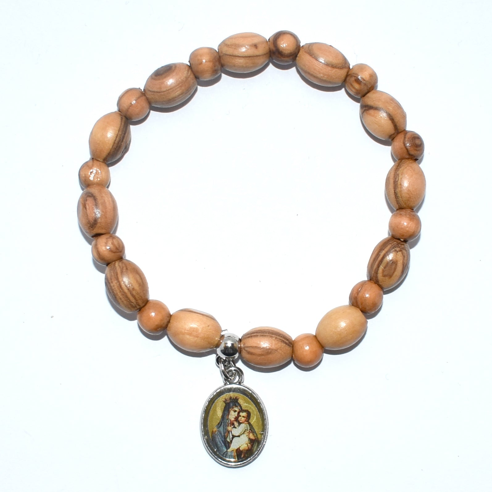 Olive Wood Oval 9*6 mm Bracelet with Mary and the Child Pendant