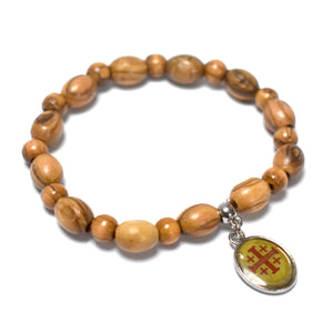 Oval Olive Wood 9*6 mm Beads Bracelet with Virgin Mary and Baby Jesus