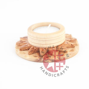 Wooden Candle Holder With A Star - Home & Office - Bethlehem Handicrafts