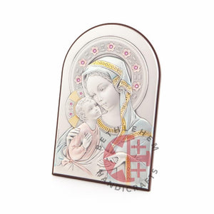 Silver Plated Virgin Mary with the Holy Child Icon - Wall Hangings - Bethlehem Handicrafts