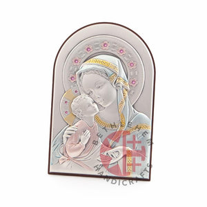 Silver Plated Virgin Mary with the Holy Child Icon
