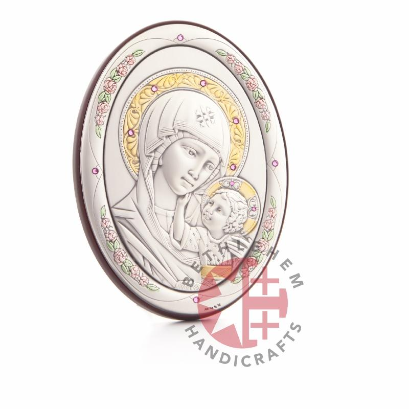 Silver Plated Virgin Mary with the Holy Child Icon (Oval Shaped)