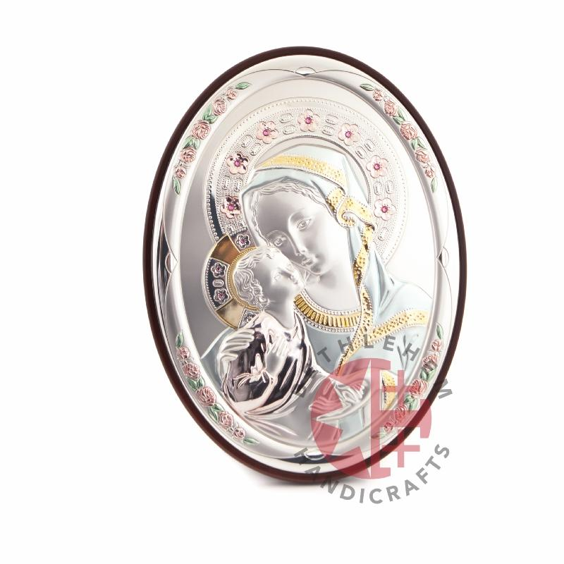 Oval Silver Plated Virgin Mary with the Holy Child Icon