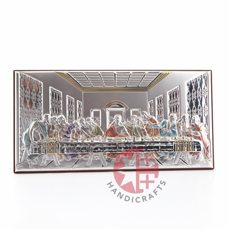 Catholic Last Supper Silver Plated Icon - Wall Hangings - Bethlehem Handicrafts