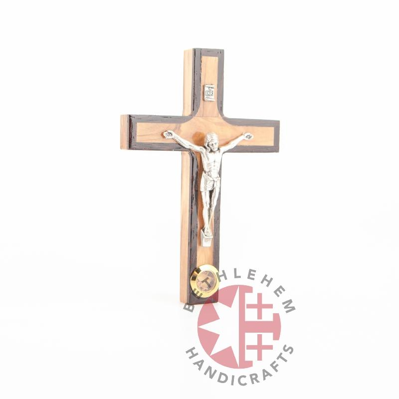 Olive Wood Crucifix with Holy Land Dried Olive and Flowers - Wall Hangings - Bethlehem Handicrafts
