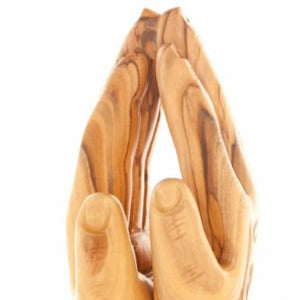 Olive Wood Praying Hands Sculpture - Statuettes - Bethlehem Handicrafts