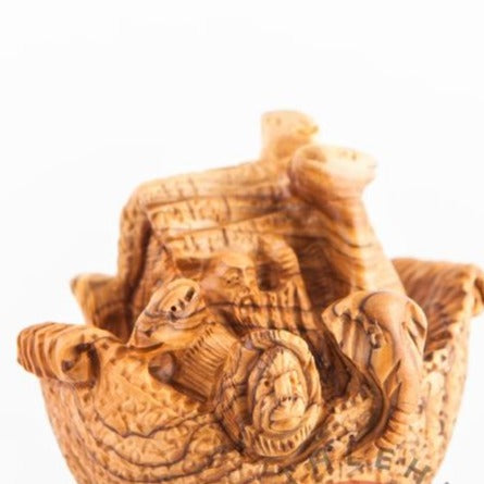 Noah's Ark Hand Carved Olive Wood Sculpture - Statuettes - Bethlehem Handicrafts