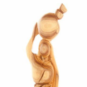 The Samaritan Woman at the Well (Olive Wood Hand Carved Statue) - Statuettes - Bethlehem Handicrafts