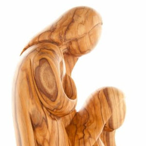 Abstract Handcrafted Olive Wood Holy Family Figurine