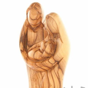 Abstract Hand Carved Holy Family Sculpture