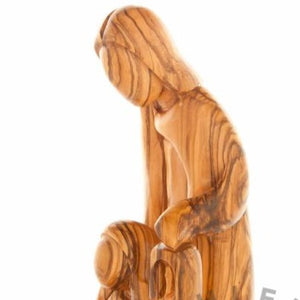 Abstract Olive Wood Sculpture of the Holy Family with Base - Statuettes - Bethlehem Handicrafts
