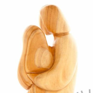 Abstract Hand Carved Holy Family Statue on Wooden Base - Statuettes - Bethlehem Handicrafts