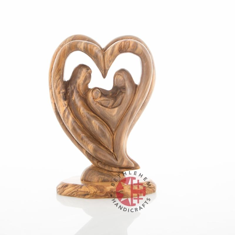 Olive Wood Heart Shaped Statue of the Holy Family (Abstract) - Statuettes - Bethlehem Handicrafts