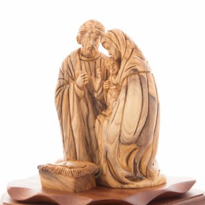 Olive Wood Kneeling Holy Family Nativity - Statuettes - Bethlehem Handicrafts