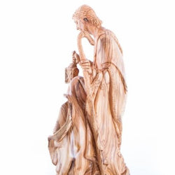 Modern Olive Wood Holy Family Holding a Lamp Statue - Statuettes - Bethlehem Handicrafts