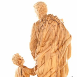 Olive Wood Saint Joseph with the Child's Statue - Specialty - Bethlehem Handicrafts