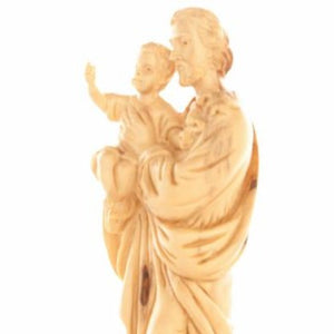 Joseph with The Holy Child Olive Wood Hand Carved Statue - Statuettes - Bethlehem Handicrafts