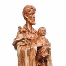 St. Joseph with The Holy Child Olive Wood Hand Carved Statue - Specialty - Bethlehem Handicrafts