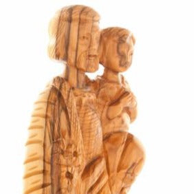 Joseph with Baby Jesus Olive Wood Hand Carved Statue - Statuettes - Bethlehem Handicrafts