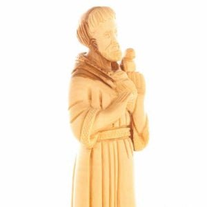 Saint Francis of Assisi Olive Wood Hand Carved Statue - Statuettes - Bethlehem Handicrafts
