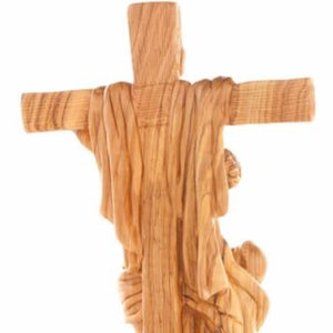 Olive Wood Statue of Saint Francis of Assisi Embracing the Crucified Christ - Specialty - Bethlehem Handicrafts