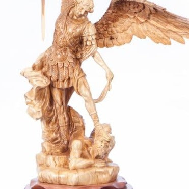 Hand Carved Olive Wood Statue of Saint Michael - Specialty - Bethlehem Handicrafts