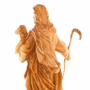 The Good Shepherd's Wooden Statue - Statuettes - Bethlehem Handicrafts