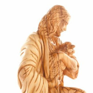 The Good Shepherd's Wood Statue - Statuettes - Bethlehem Handicrafts