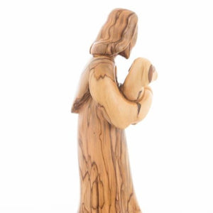 Abstract Olive Wood Good Shepherd Carving - Statuettes - Bethlehem Handicrafts