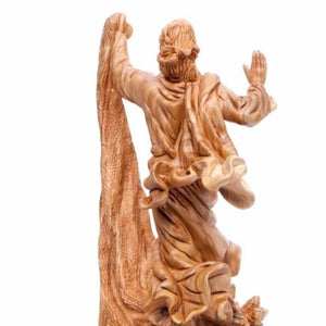 Jesus Calms The Storm Carved Wooden Statue - Statuettes - Bethlehem Handicrafts