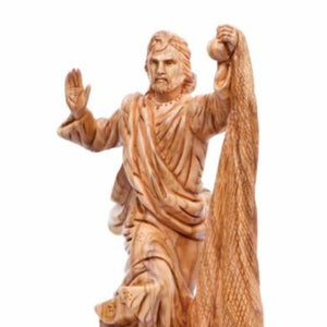 Jesus The Fisherman's Carved Wooden Statue - Statuettes - Bethlehem Handicrafts