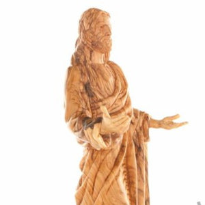 Wood Carved Jesus Blessings' Statue - Statuettes - Bethlehem Handicrafts