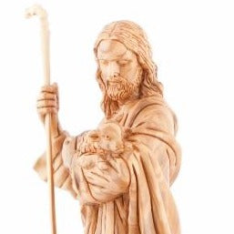 Hand Carved The Good Shepherd's Statue - Statuettes - Bethlehem Handicrafts