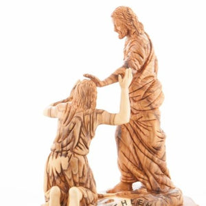 Jesus Cures the Man Born Blind Olive Wood Statue - Statuettes - Bethlehem Handicrafts