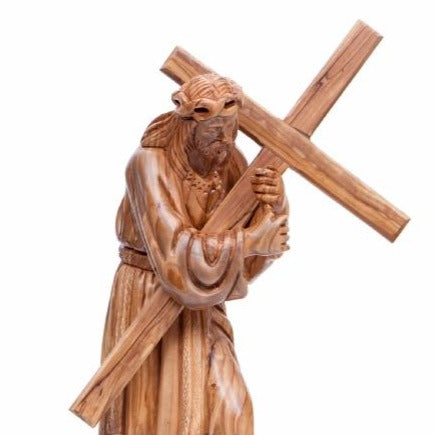Hand Carved Wooden Statue of Jesus Holding the Cross - Statuettes - Bethlehem Handicrafts