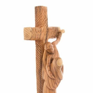 Abstract Olive Wood Statue of Saint Francis of Assisi Embracing the Crucified Christ - Statuettes - Bethlehem Handicrafts