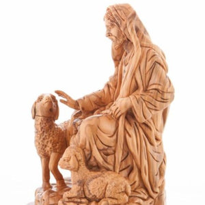 The Good Shepherd with 2 Sheep Statue - Statuettes - Bethlehem Handicrafts