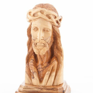 Hand Carved Wood Bust of Jesus Head - Statuettes - Bethlehem Handicrafts
