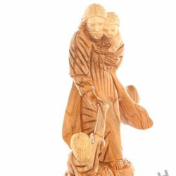 Wood Carved Jesus With The Children - Statuettes - Bethlehem Handicrafts