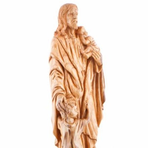 Carved Wooden Jesus With The Children's Statue - Statuettes - Bethlehem Handicrafts