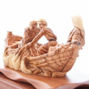 Carved Wooden Jesus 'Miracle of The Fisherman' - Statuettes - Bethlehem Handicrafts