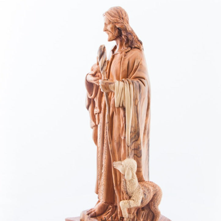 The Good Shepherd's Olive Wood Statue
