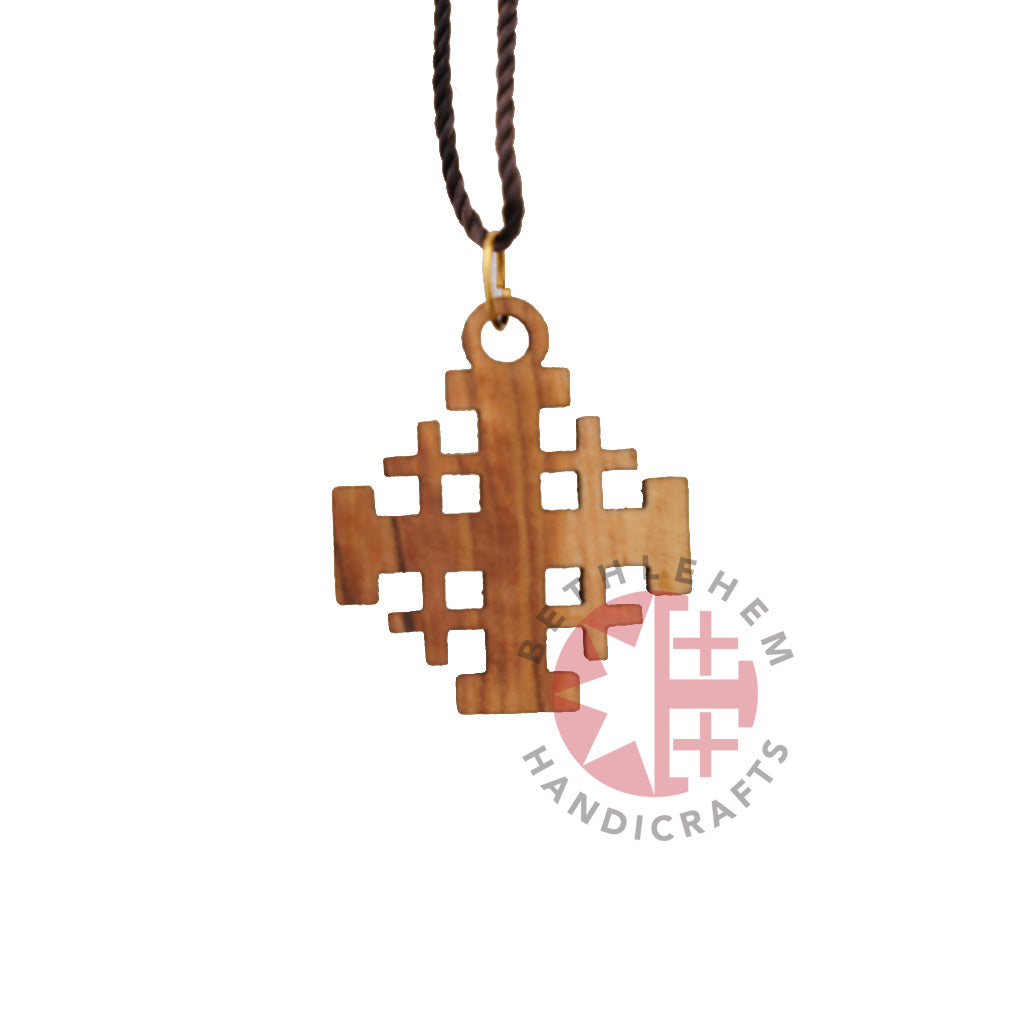 Plain Olive Wood Jerusalem Cross Necklace