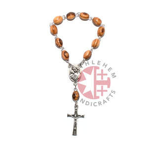 Olive Wood 6 x 9 mm Finger Rosary with Latin Cross