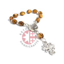 Olive Wood 6 x 9 mm Finger Rosary with Jerusalem Cross