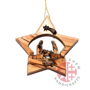 Engraved Olive Wood Nativity Scene Star Ornament